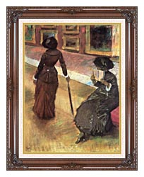 Edgar Degas Mary Cassatt At The Louvre canvas with dark regal wood frame