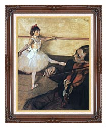 Edgar Degas The Dance Lesson canvas with dark regal wood frame