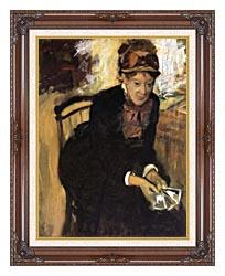 Edgar Degas Miss Cassatt Holding Cards canvas with dark regal wood frame
