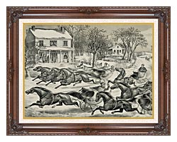 Currier And Ives A Brush For The Lead   New York Flyers On The Snow canvas with dark regal wood frame