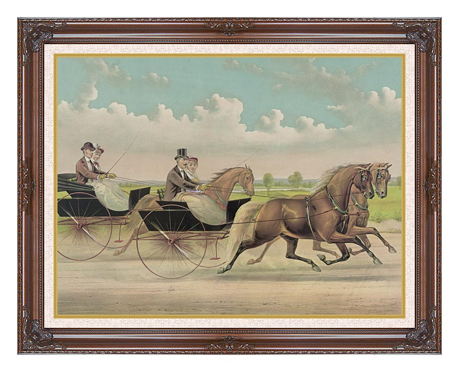 Currier and Ives A Brush with Webster Carts with Dark Regal Frame w/Liner
