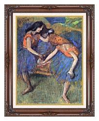 Edgar Degas Degas Ballerinas canvas with dark regal wood frame