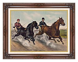 Currier And Ives A Champion Race canvas with dark regal wood frame