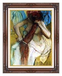 Edgar Degas Nude Woman Combing Her Hair canvas with dark regal wood frame