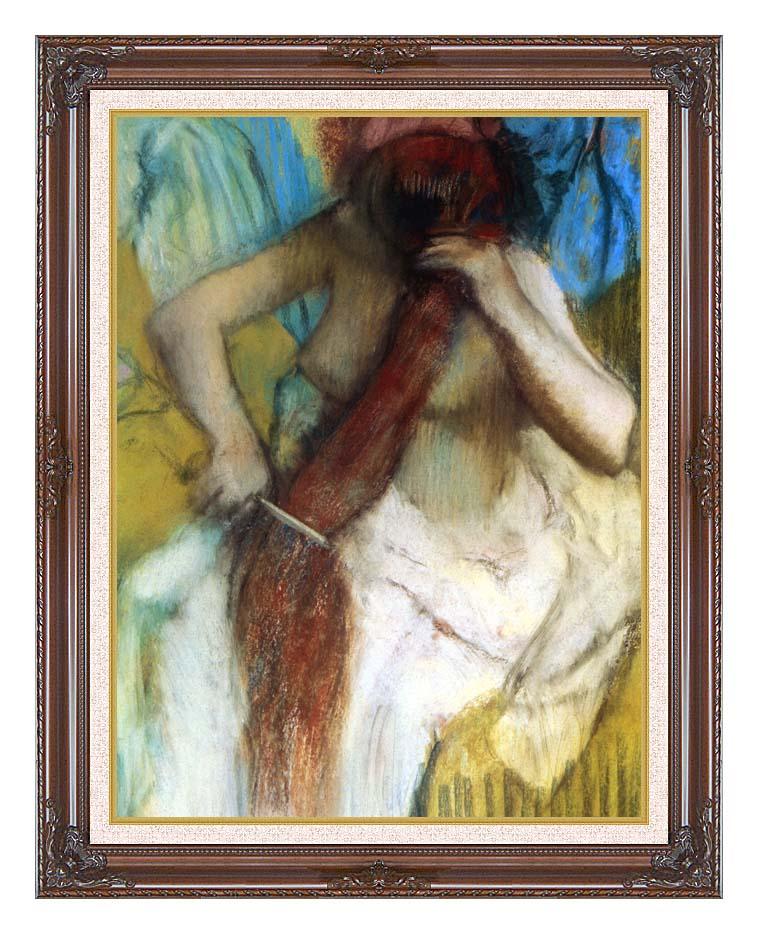 Edgar Degas Nude Woman Combing Her Hair with Dark Regal Frame w/Liner