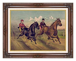 Currier And Ives A Champion Horse Race canvas with dark regal wood frame