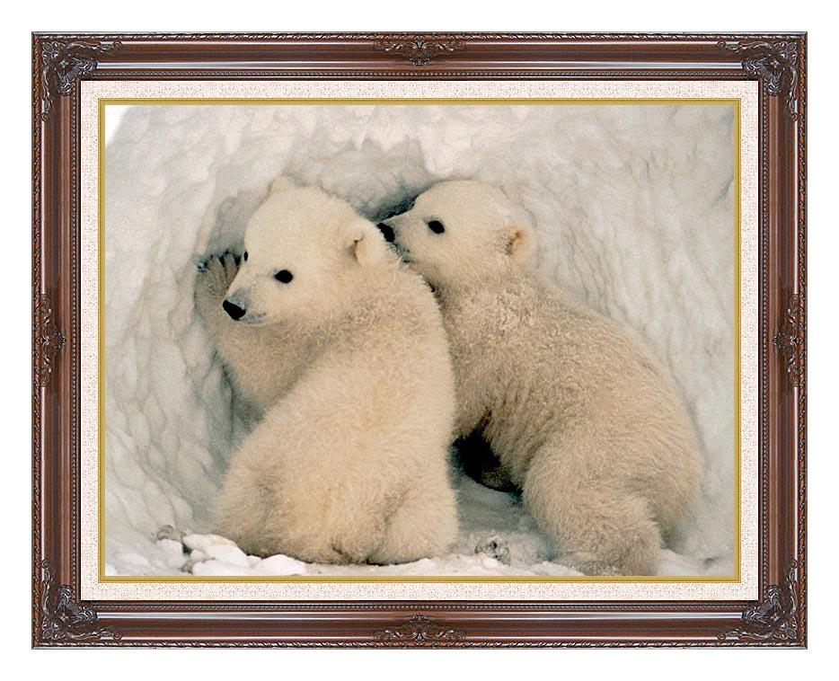 U S Fish and Wildlife Service Polar Bear Cubs with Dark Regal Frame w/Liner