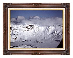 U S Fish And Wildlife Service Aniakchak Caldera canvas with dark regal wood frame