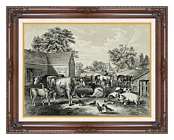 Currier And Ives American Farm Yard   Evening canvas with dark regal wood frame
