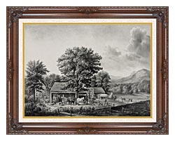 Currier And Ives Autumn In New England   Cider Making canvas with dark regal wood frame