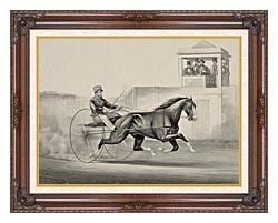 Currier And Ives Celebrated Horse Dexter The King Of The World canvas with dark regal wood frame