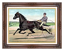 Currier And Ives Celebrated Trotter Jay Eye See canvas with dark regal wood frame