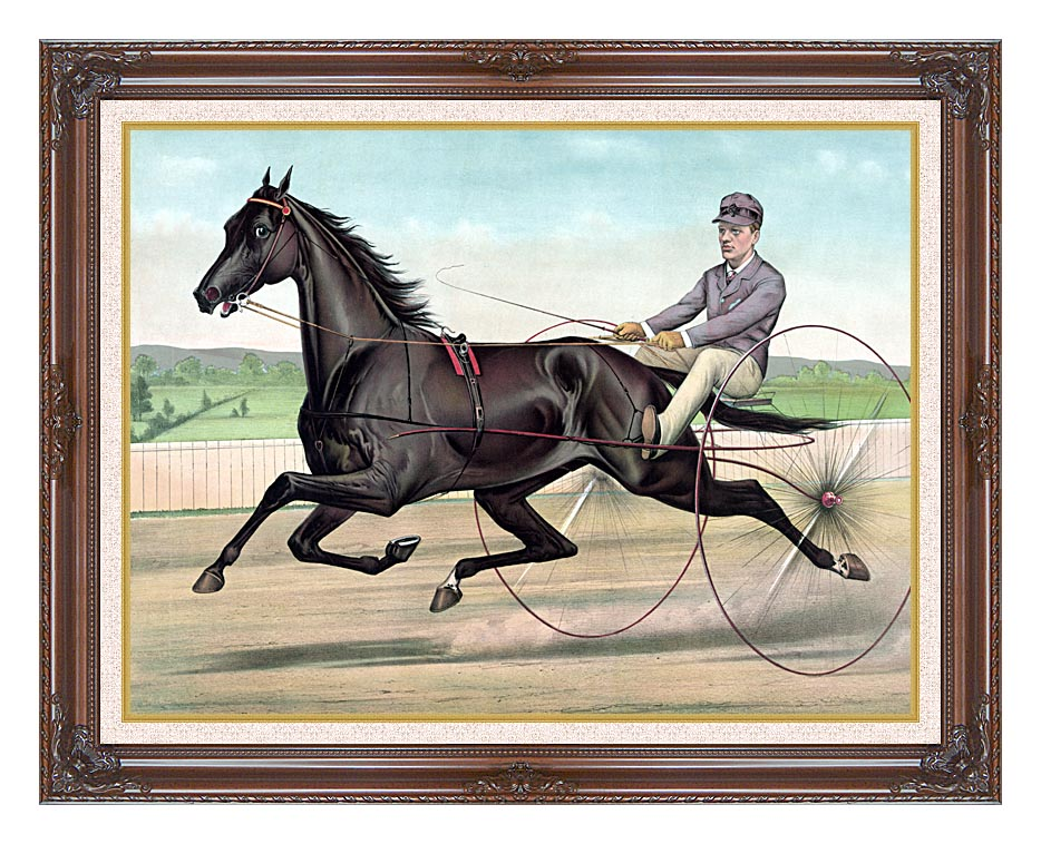 Currier and Ives Celebrated Trotter Jay Eye See with Dark Regal Frame w/Liner