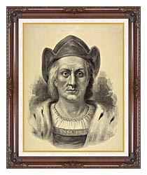 Currier And Ives Christopher Columbus Discoverer Of America canvas with dark regal wood frame