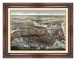 Currier And Ives City Of Boston canvas with dark regal wood frame