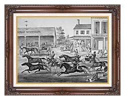 Currier And Ives Coming From The Trot   Sports On The Home Stretch canvas with dark regal wood frame