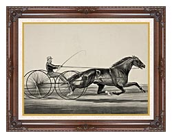 Currier And Ives Dan Rice   Owned By Tm Lyom Portsmouth Ohio canvas with dark regal wood frame