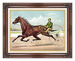 Currier And Ives Edwin Thorne canvas with dark regal wood frame