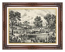 Currier And Ives Grand Drive Central Park NY canvas with dark regal wood frame