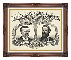 Currier And Ives Grand National Democratic Banner 1880 canvas with dark regal wood frame