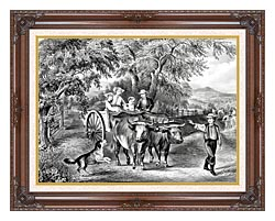 Currier And Ives Haying Time The First Load canvas with dark regal wood frame