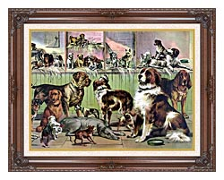Currier And Ives House Kennel And Field canvas with dark regal wood frame
