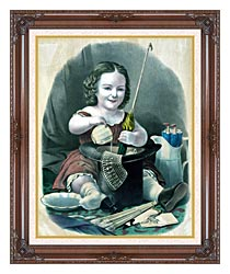 Currier And Ives Little Girl Into Mischief canvas with dark regal wood frame