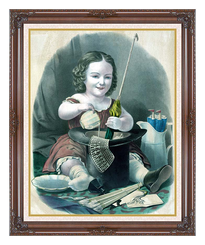 Currier and Ives Little Girl Into Mischief with Dark Regal Frame w/Liner