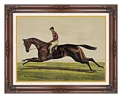 Currier And Ives Iroquois Thoroughbred Horse canvas with dark regal wood frame