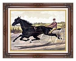 Currier And Ives Jay Eye See Trotter Horse Racing canvas with dark regal wood frame