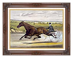 Currier And Ives Maud S Trotter Race Horse canvas with dark regal wood frame