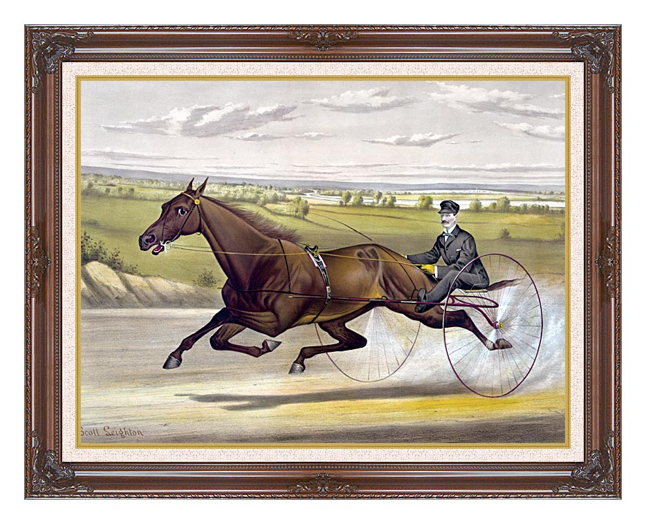 Currier and Ives Maud S Trotter Race Horse with Dark Regal Frame w/Liner