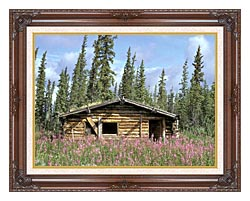 U S Fish And Wildlife Service Canyon Village Log Cabin canvas with dark regal wood frame