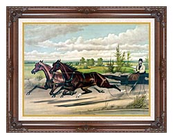 Currier And Ives Mill Boy And Blondine Harness Racers canvas with dark regal wood frame