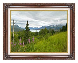 U S Fish And Wildlife Service Hillside With Fireweed canvas with dark regal wood frame