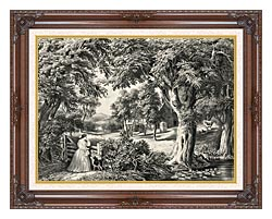 Currier And Ives My Cottage Home canvas with dark regal wood frame