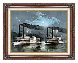 Currier And Ives A Midnight Race On The Mississippi River canvas with dark regal wood frame