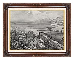 Currier And Ives Railroad Across The Continent canvas with dark regal wood frame