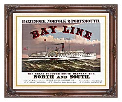 Currier And Ives Bay Line Steamship canvas with dark regal wood frame