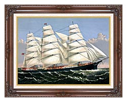Currier And Ives Clipper Ship Three Brothers canvas with dark regal wood frame