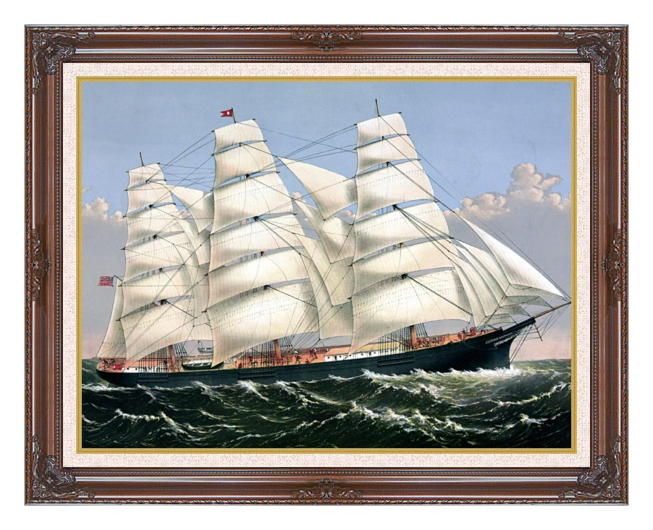 Currier and Ives Clipper Ship Three Brothers with Dark Regal Frame w/Liner