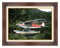 U S Fish And Wildlife Service Float Plane canvas with dark regal wood frame