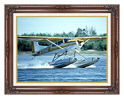 U S Fish And Wildlife Service Float Plane In Water canvas with dark regal wood frame