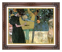 Gustav Klimt Music I canvas with dark regal wood frame