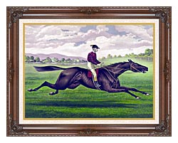 Currier And Ives Parole Horse Racing canvas with dark regal wood frame