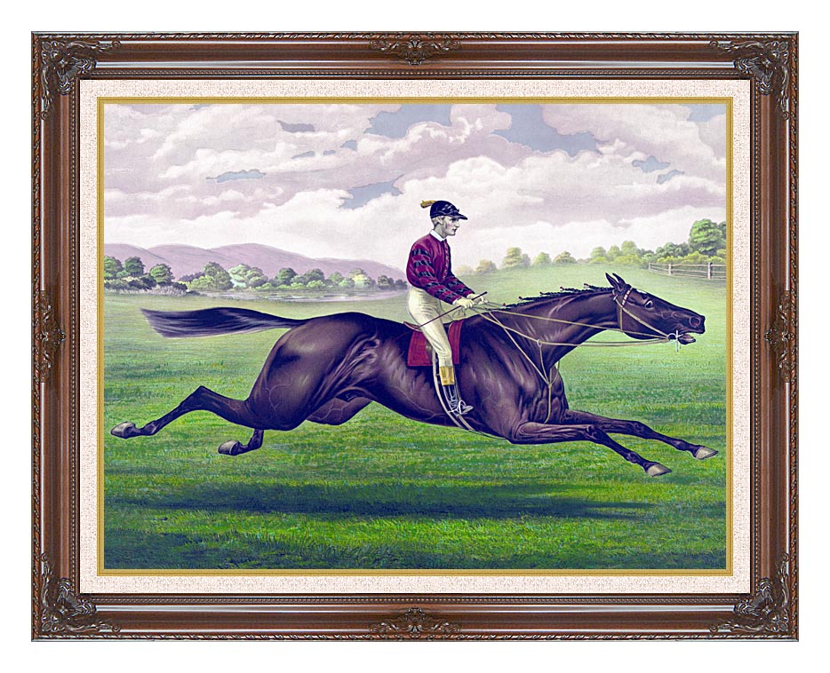 Currier and Ives Parole Horse Racing with Dark Regal Frame w/Liner