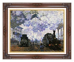 Claude Monet Gare Saint Lazare Arrival Of A Train canvas with dark regal wood frame