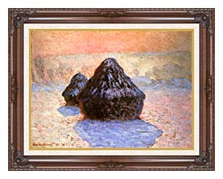 Claude Monet Haystacks Snow Effect Winter canvas with dark regal wood frame