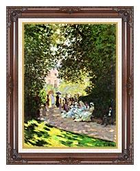 Claude Monet Parisians Enjoying The Parc Monceau Paris canvas with dark regal wood frame