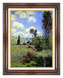Claude Monet Path In The Ile Saint Martin Vetheuil canvas with dark regal wood frame